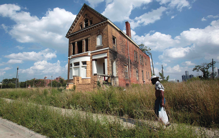 A once vibrant neighborhood near downtown Detroit