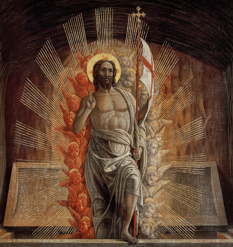 "The Risen Christ is depicted in the painting ""Resurrection"" by 15th-century Italian master Andrea Mantegna (CNS/Bridgeman Images)."