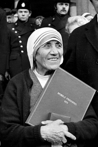 This Dec. 12, 1979, photo shows Mother Teresa in Oslo, Norway, after receiving the Nobel Peace Price (CNS/EPA) .