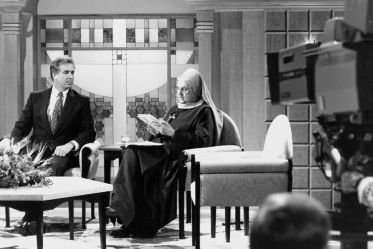 Mother Angelica, founder of the Eternal Word Television Network, is pictured in a 1992 photo (CNS files).