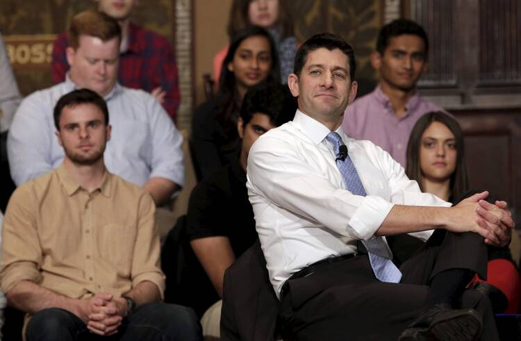 U.S. House Speaker Paul Ryan, R-Wis., listens to a questions as he speaks at a town hall meeting with millennials April 27 at Georgetown University's Institute of Politics and Public Service in Washington (CNS photo/Yuri Gripas, Reuters).