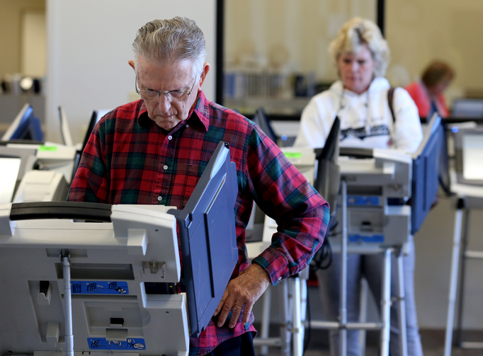 Voters cast ballots in Cleveland as early absentee voting began Oct. 12 ahead of the Nov. 8 U.S. presidential election (CNS photo/Aaron Josefczyk, Reuters).