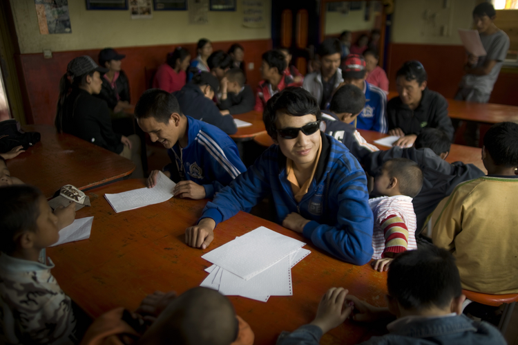 Blind people are seen at school in Lhasa, Tibet, in this Sept. 2, 2011, file photo. Sabriye Tenberken, a German who went fully blind at the age of 12, runs a school for the blind there (CNS photo/Wu Hong, EPA).