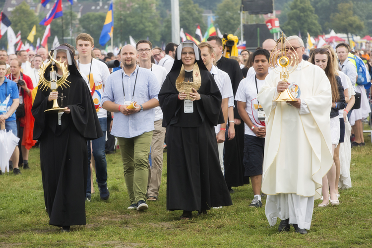 Relics of Sts. Faustina Kowalska and John Paul II are carried into the opening Mass for World Youth Day in Krakow, Poland, July 26. (CNS photo/Jaclyn Lippelmann, Catholic Standard)