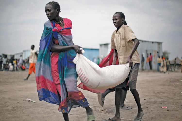 A food delivery in Pibor, South Sudan, in January 2012.