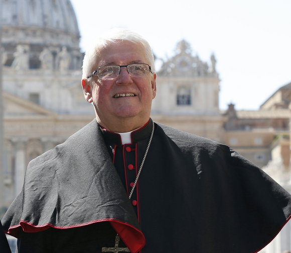 Bishop Douglas Crosby of Hamilton, Ontario, is seen at the Vatican April 25. (CNS photo/Paul Haring)