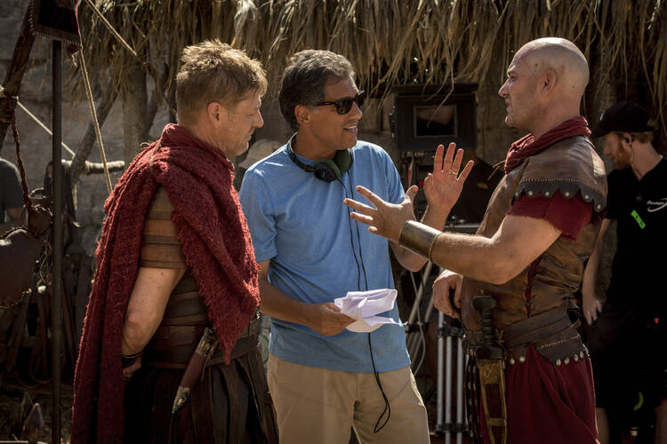 "Cyrus Nowrasteh directing Sean Bean and another actor on the set of ""The Young Messiah,"" an adaptation of an Anne Rice novel. (Photo provided)"