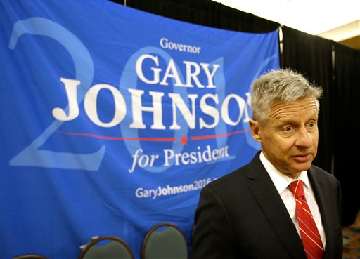 Libertarian presidential candidate Gary Johnson speaks to supporters and delegates at the National Libertarian Party Convention, in Orlando, Fla. (AP Photo/John Raoux, File)