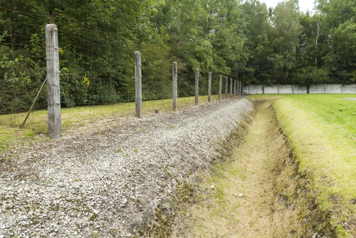 Ditch and fence, Dachau concentration camp
