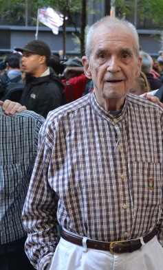 Daniel Berrigan at Occupy Wall Street in Zuccotti Park on October 5, 2011.