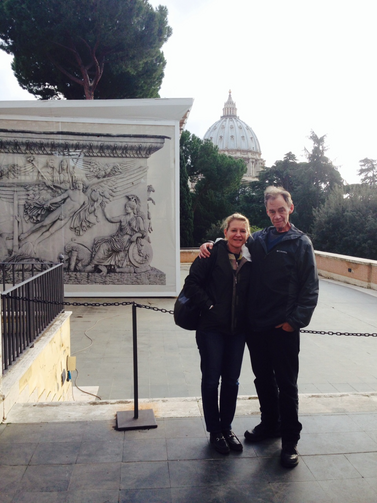David Carr with his wife, Jill, in Rome.