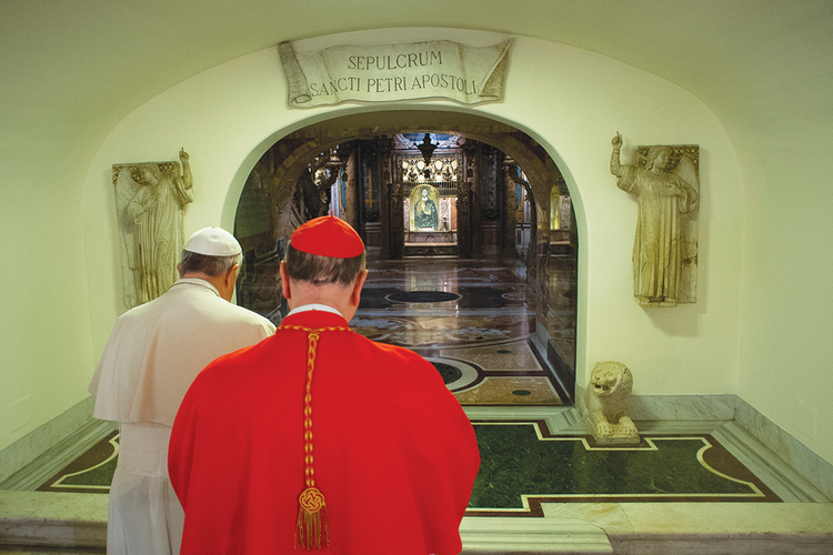 ON THIS ROCK. Pope Francis and Cardinal Angelo Comastri pray at the tomb of St. Peter in the crypt of St. Peter's Basilica on the feast of All Souls.