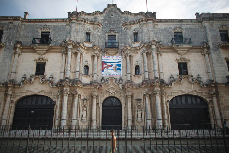 OUR MAN IN HAVANA. A banner in Havana advertises Pope Francis' September visit to Cuba.