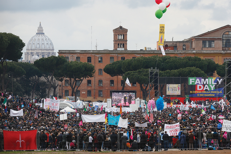 GATHERED TOGETHER. People attend the Family Day rally at the Circus Maximus in Rome on Jan. 30. The rally was held to oppose a bill in the Italian Senate that would allow civil unions for homosexual and heterosexual couples.