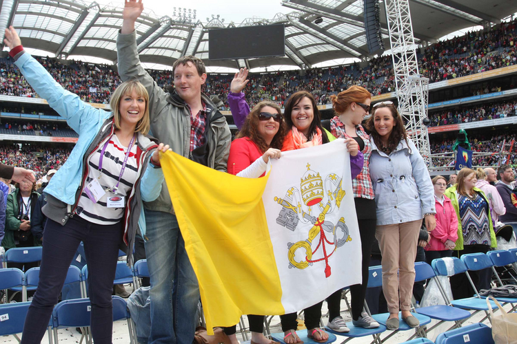 Young people during the closing Mass of the 50th International Eucharistic Congress in Dublin, June 18, 2012.