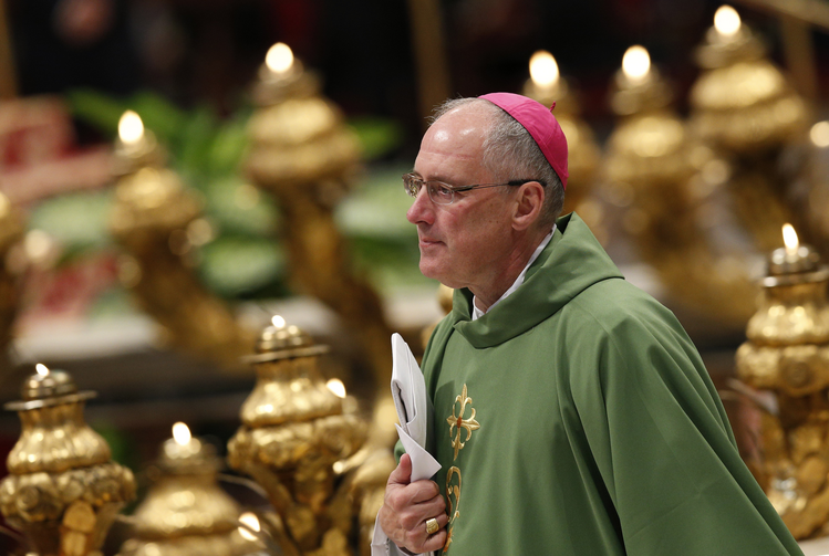 Canadian Archbishop Durocher of Gatineau, Quebec, arrives for opening Mass of Synod of Bishops on the family in St. Peter's Basilica at Vatican (CNS Photo / Paul Haring).