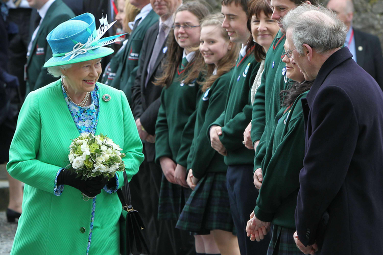 Britain's Queen Elizabeth meets students from Cashel Community School at the Rock of Cashel, also known as St. Patrick's Rock, in County Tipperary, Ireland, May 20, 2011 (CNS photo/Reuters).