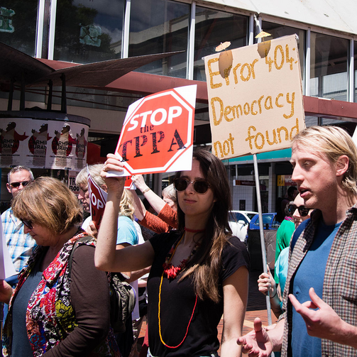 Rally against the Trans-Pacific Partnership in Wellington, New Zealand in November 2014. (Photo courtesy wiki-commons and Neil Ballantyne)