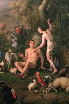 Painting of Adam and Eve by Peter Wenzel displayed in the Pinacoteca at the Vatican Museums. (CNS photo/Nancy Wiechec)
