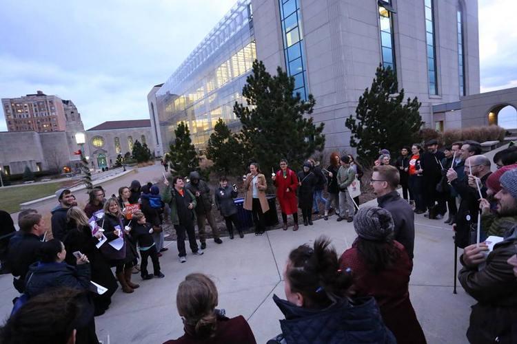 A Faculty Forward vigil at Loyola University Chicago in December (Photo: Faculty Forward Chicago)