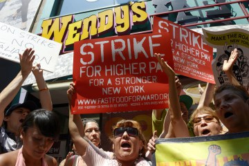 Fast Food Employees on Strike