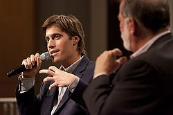 U.S. journalist James Foley speaks at Northwestern University's Medill School of Journalism in Evanston, Ill., after being released from imprisonment in Libya in 2011. (CNS photo/Tommy Giglio, Northwestern University via Reuters)