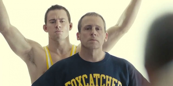 LEADER OF MEN? Steve Carell and Channing Tatum in 'Foxcatcher'