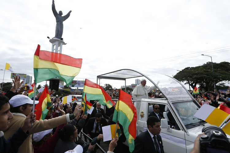 Pope Francis greets the crowd as he arrives to celebrate Mass in Christ the Redeemer Square in Santa Cruz, Bolivia, July 9. (CNS photo/Paul Haring)