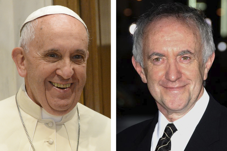 Pope Francis will be played by actor Johnathan Pryce (right), best known for Game of Thrones, in an upcoming Netflix film.
