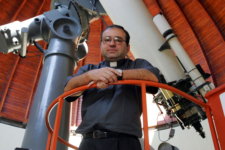 Jesuit Jose Funes, S.J., new director of the Vatican Observatory, is seen at the observatory in Castel Gandolfo, Italy.