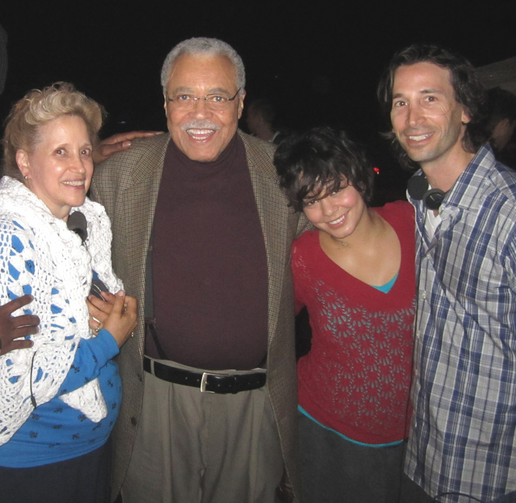 "Kathy DiFiore, on whom the movie ""Gimme Shelter"" is based, poses with stars of the movie James Earl Jones, Vanessa Hudgens and director-writer Ronald Krauss. (CNS photo/Roadside Attractions)"