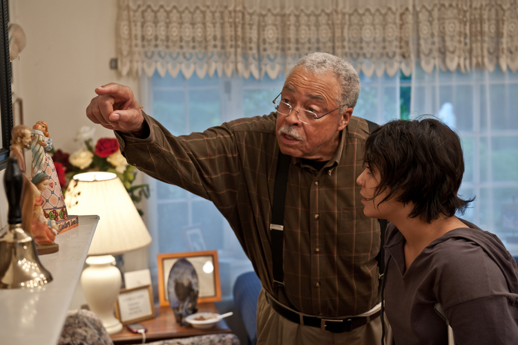"FATHER KNOWS BEST. James Earl Jones and Vanessa Hudgens in ""Gimme Shelter."""