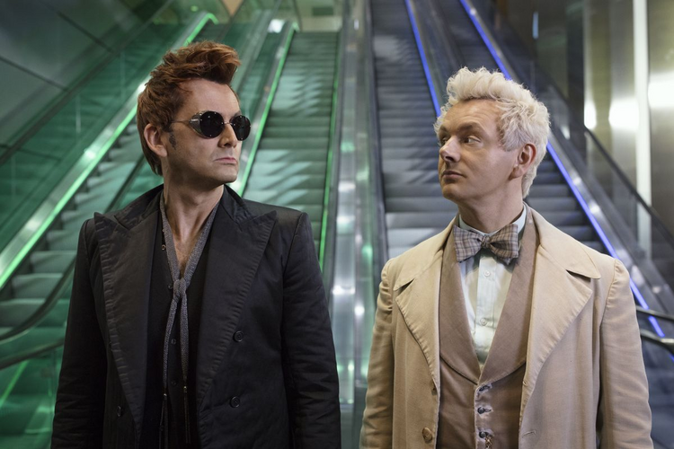 "In ""Good Omens,"" Aziraphale (David Tennant), left, and Crowley (Michael Sheen), right, are the Rosencrantz and Guildenstern of salvation history. (Photo: IMDB)."