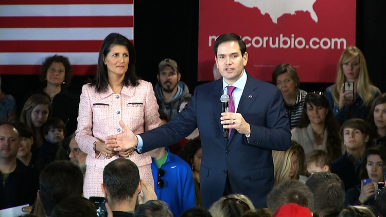 Gov. Nikki Haley campaigns with Republican presidential candidate Sen. Marco Rubio in Greenville, S.C., on Thursday. (AP Photo/Alex Sanz)