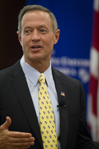 "Maryland Gov. Martin O'Malley addresses students at The Catholic University of America in Washington in a talk about economic equity Nov. 13. His policy speech was titled ""An Economy With a Human Purpose."" (CNS photo/Tyler Orsburn)"