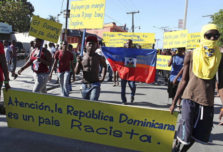 A protest in Haiti against the court ruling in December 2013