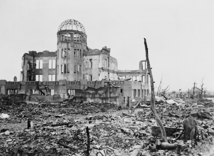 AVOIDABLE? The Museum of Science and Industry in Hiroshima, Japan, shortly after the dropping of the first atomic bomb, on August 6, 1945.