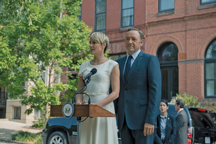 "POWER COUPLE. Robin Wright and Kevin Spacey in Season 2 of ""House of Cards"""