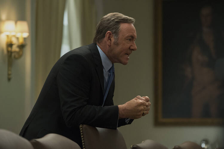 "THE DEVIL'S SOLDIER. Kevin Spacey as Frank Underwood in ""House of Cards"""
