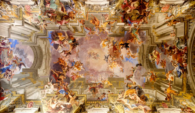 "The famous trompe l'oeil ceiling of Sant'Ignazio di Loyola in Rome. Fresco by Andrea Pozzo, ""Saint Ignatius Being Received into Heaven"" (1691-94)."