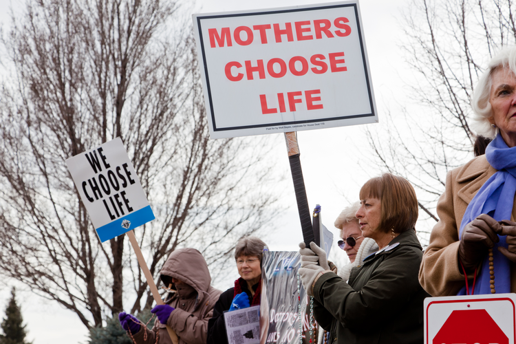 Women protesting against abortion in Boise, Idaho. (iStock/MivPiv)