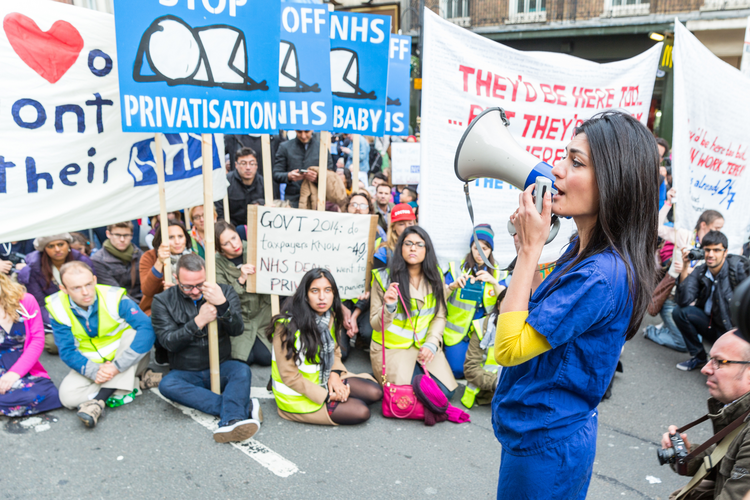 Junior doctors march in London in Oct. 2015 to campaign against NHS contract changes. iStock photo