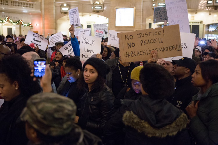 Black Lives Matter activists lead a protest in Grand Central Terminal, in New York City, in December 2014. (iStock/pardsbane)