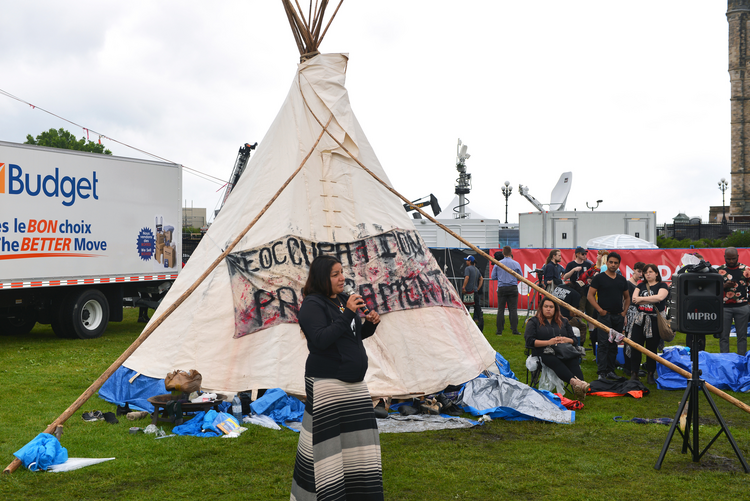 A teepee in Ottawa on June 30, 2017, erected as a symbol of rights for indigenous people. (iStock/PaulMcKinnon)