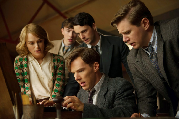 "CODE BREAKERS. Keira Knightley, Benedict Cumberbatch and Mark Strong in ""The Imitation Game."""