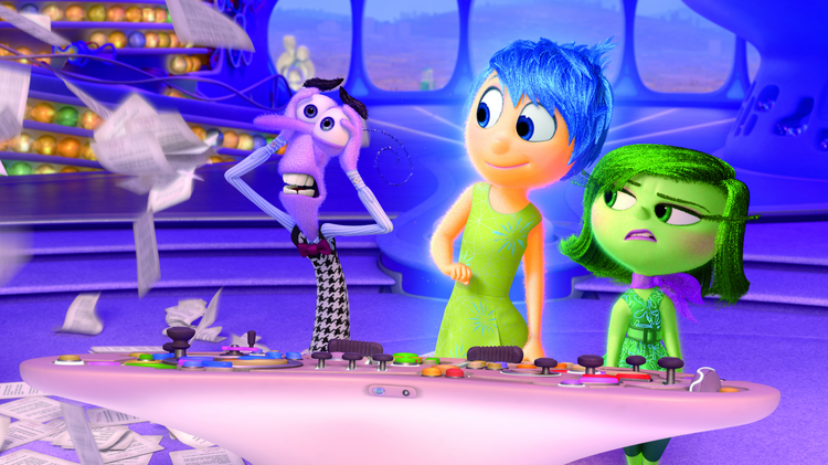 "EMOTIONAL RESCUE. Animated characters Fear, Joy and Disgust in the movie ""Inside Out"" (CNS photo/courtesy Disney-Pixar)."