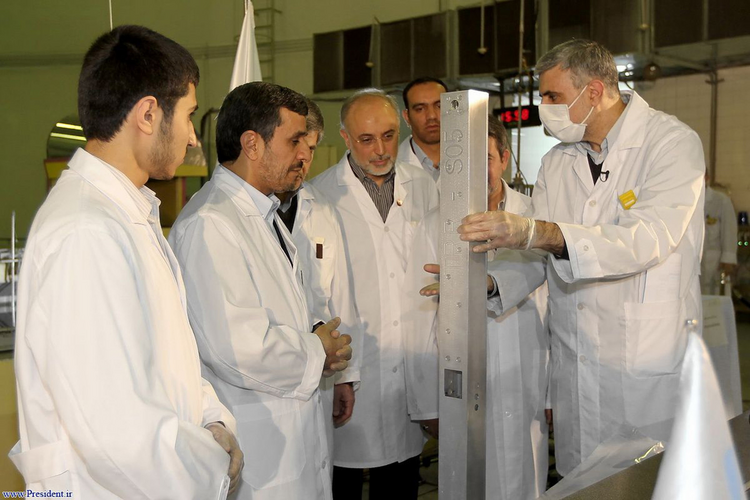 Former Iranian President Mahmoud Ahmadinejad attends unveiling of nuclear project in Iran, April 12, 2012.