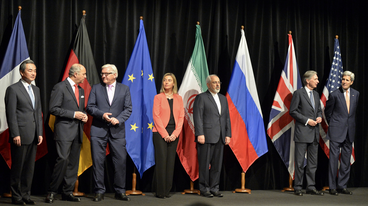 World leaders take part in a press conference July 14 after reaching a nuclear deal with Iran (CNS photo/Herbert Neubauer, EPA).