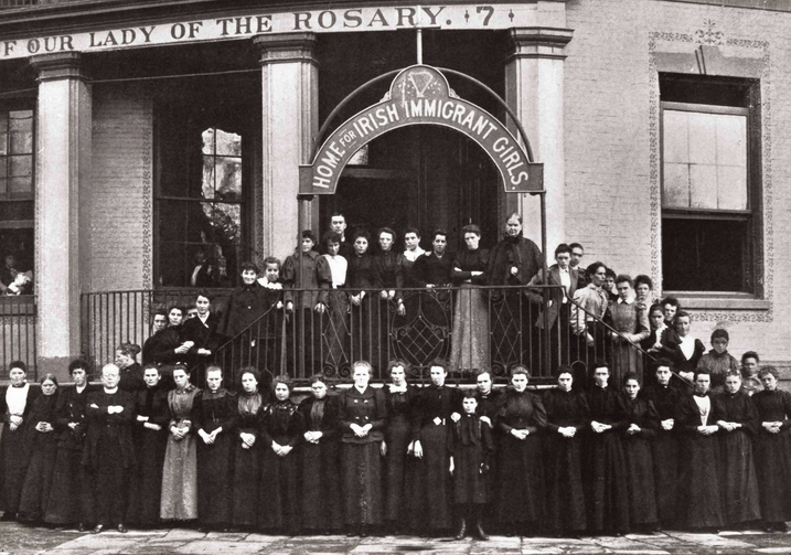 Residents and staff of the Home for Irish Immigrant Girls in New York pose for a photo around 1908. The home served as a mission for young women who emigrated from Ireland to the United States from 1883 to 1954.