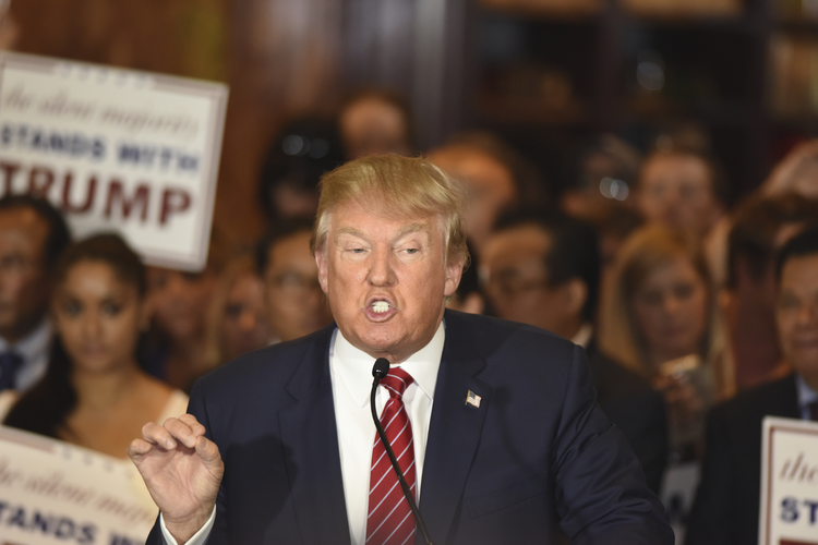 Republican presidential candidate Donald Trump during press conference at Trump Tower to announce he has signed a pledge not to run as an independent candidate, Sept. 3, 2015 (iStock photo)